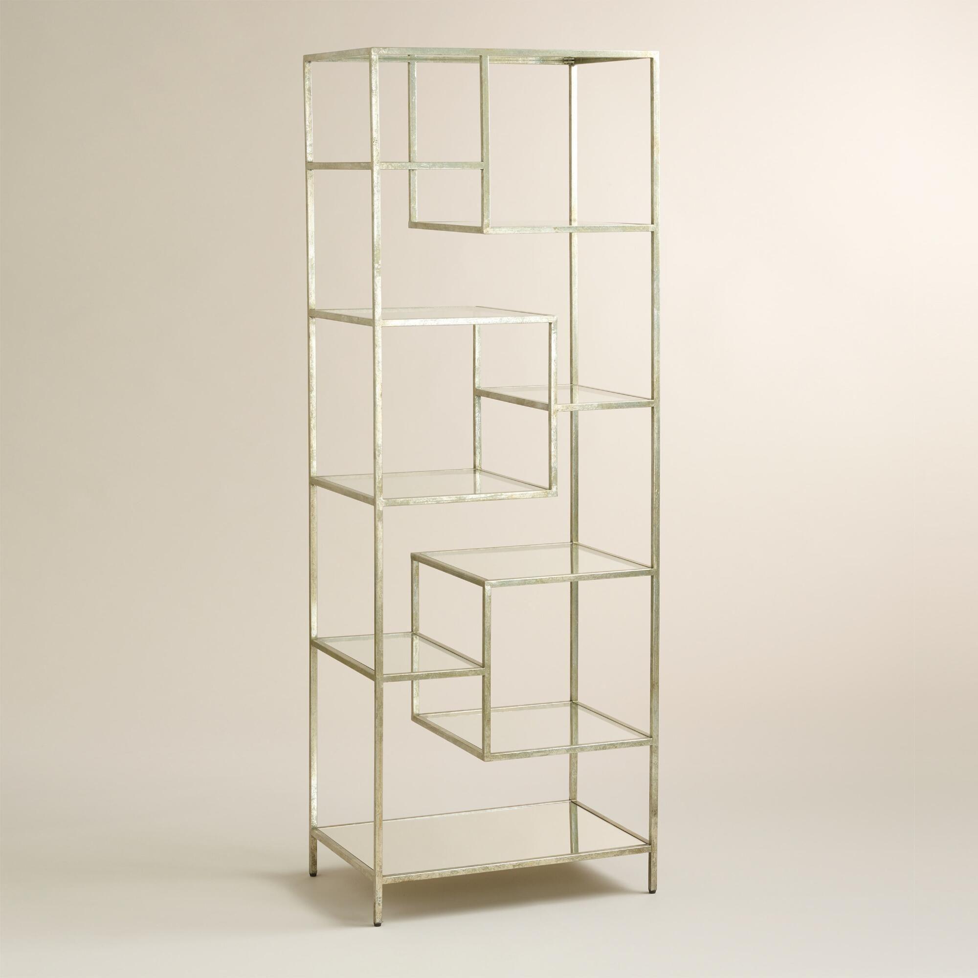Burnished Metal And Glass Asymmetrical Kali Shelf Glass Bookcase Glass Shelves In Bathroom Glass Shelves