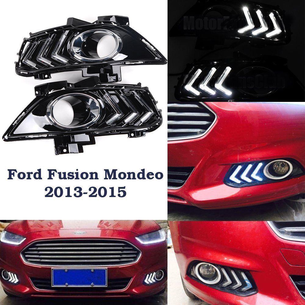 For 2013 2014 2015 ford fusion mondeo led daytime running light drl fog lamp kit