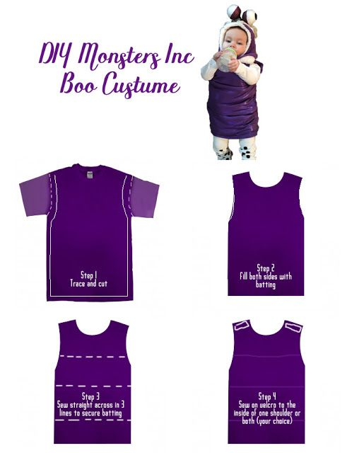 Diy Boo From Monsters Inc Baby Costume From Polka Dots Love Monsters Inc Boo Monster Inc Costumes Boo Halloween Costume