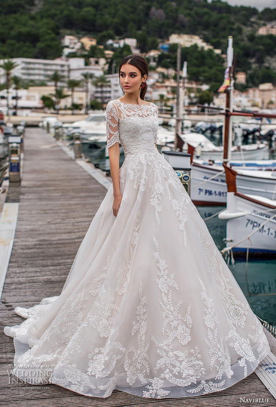 f47f153000 naviblue 2019 bridal half sleeves illusion bateau sweetheart neckline  heavily embellished bodice hem a line wedding dress lace back chapel train  (14) mv ...