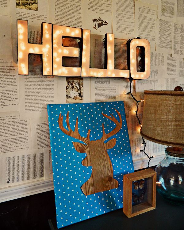 Instead of simply hanging twinkle lights, turn them into a custom