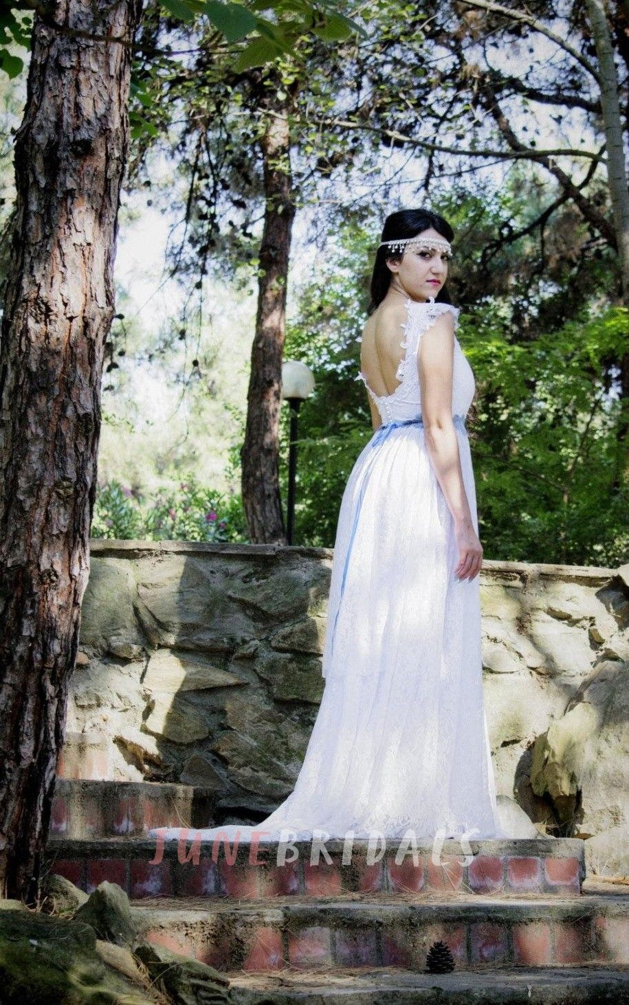 Boho square empire backless long lace wedding dress with sash and