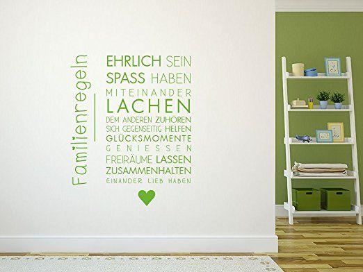 Fantastisch Wandtattoo Aufkleber Familie Sprüche Für Wohnzimmer Spruch Familienregeln  (72x57cm // 054 Türkis):