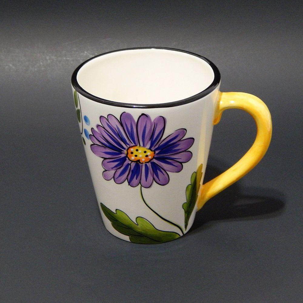 World Market Flower Daisy Floral Coffee Mug Cup 12 Oz White Green Purple Yellow Mugs Mug Cup Novelty Mugs