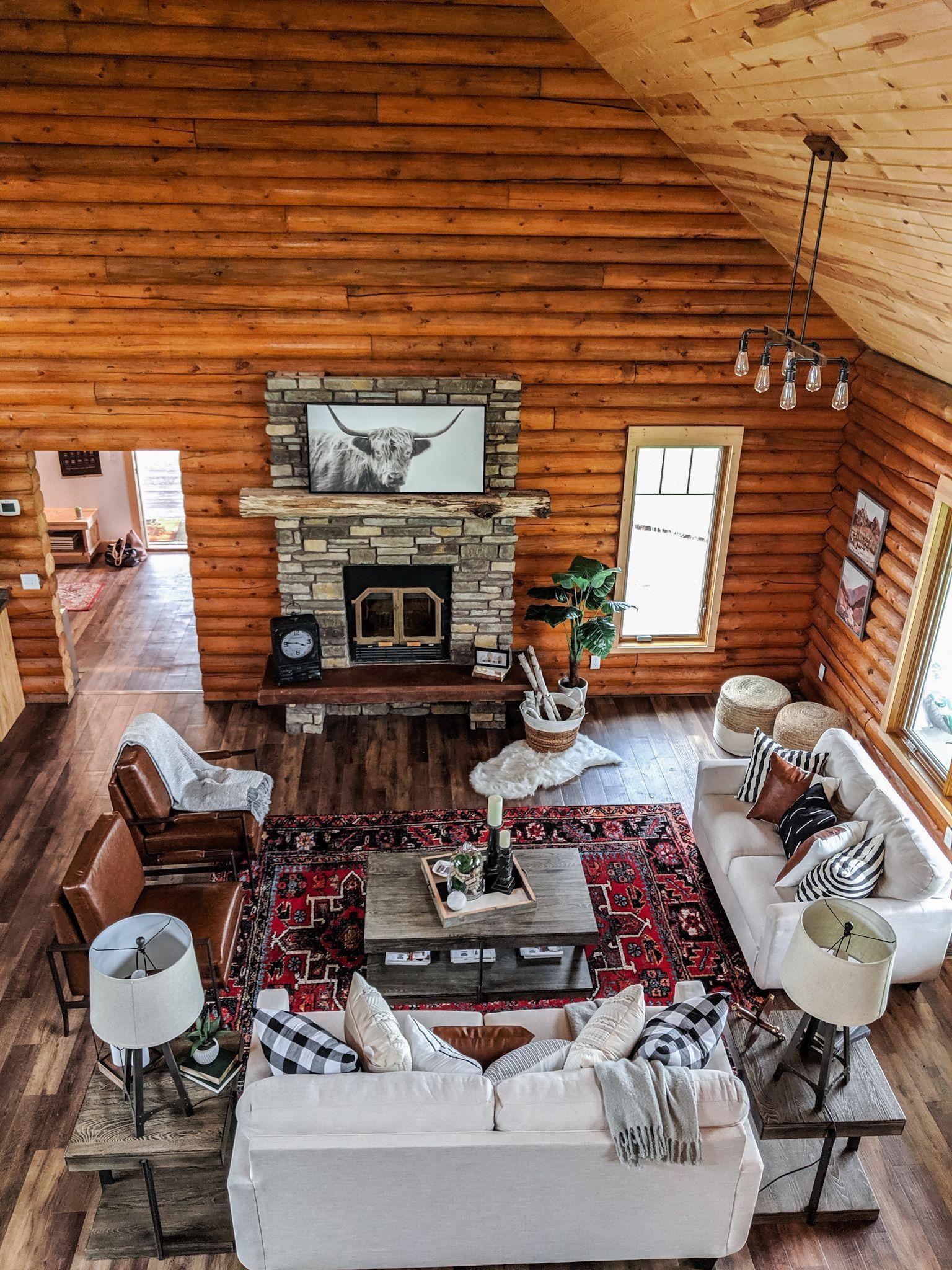 Modern boho log cabin great room