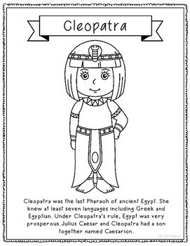 Cleopatra Coloring Page Craft Or Poster With Mini Biography