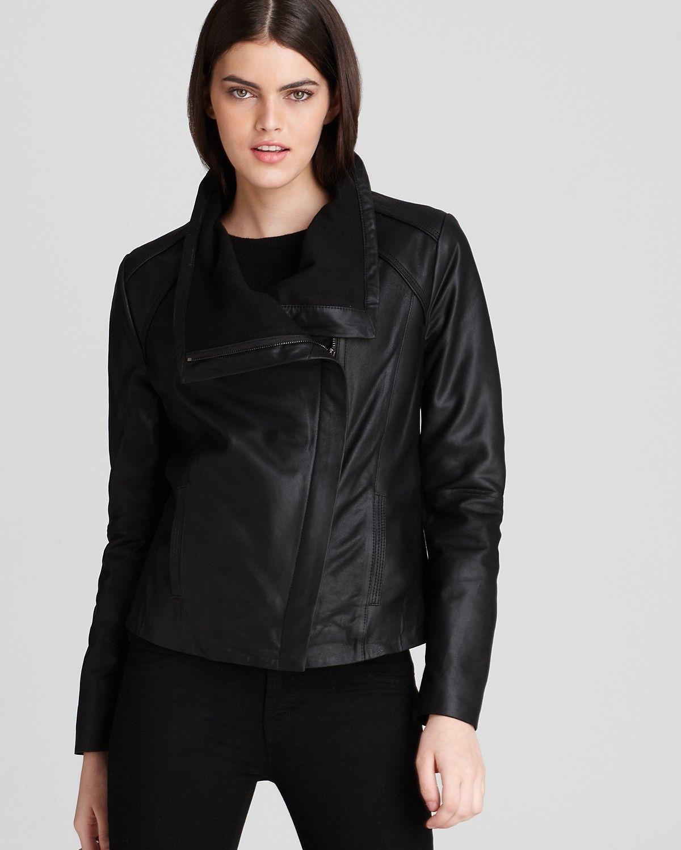 Elie Tahari Andreas Drape Front Leather Jacket Bloomingdale S Fn Coats Jackets Type M 3dleathe Leather Jacket Womens Biker Jacket Womens Black Leather Jacket [ 1500 x 1200 Pixel ]