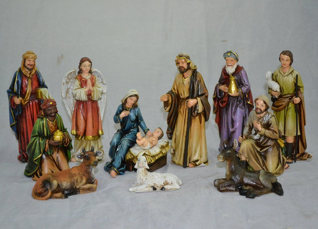 12 Piece Nativity Figurine Set Nativity Set Family Figurine Ceramic Nativity Set