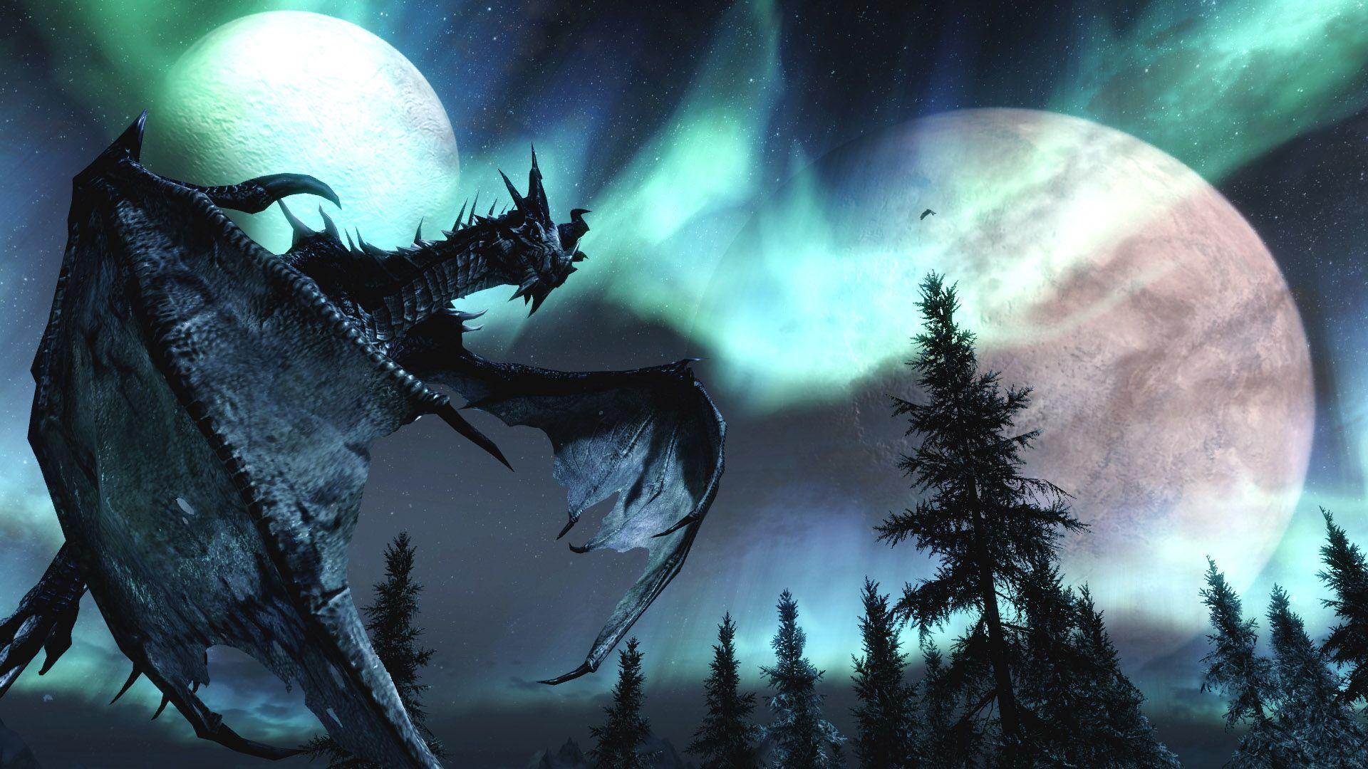 Skyrim Dragon Wallpapers For Desktop Background Wallpaper Hd