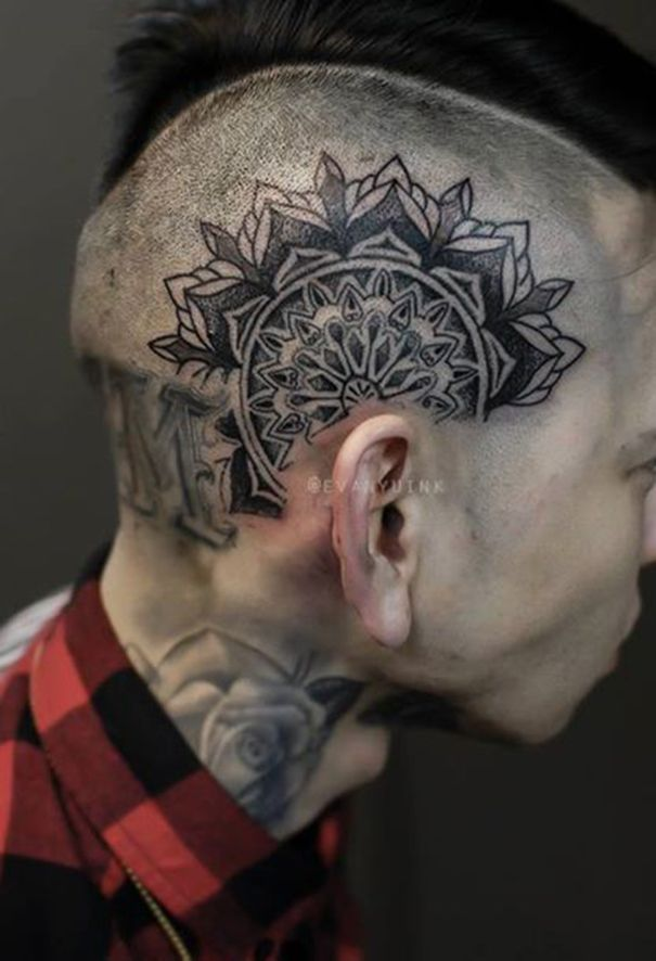 Head Tattoo For Men Head Tattoos Tattoos For Guys Scalp Tattoo