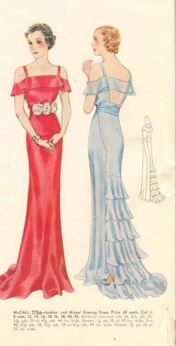 McCall 7756 | ca. 1934 Ladies' & Misses' Evening Dress