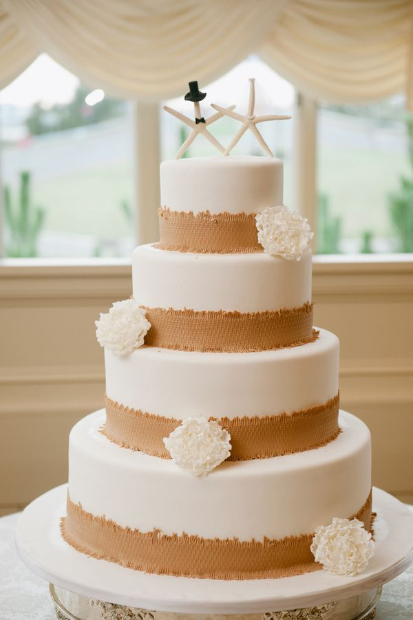 Rustic Beach Wedding Cake With Edible Burlap Trim And Starfish Cake
