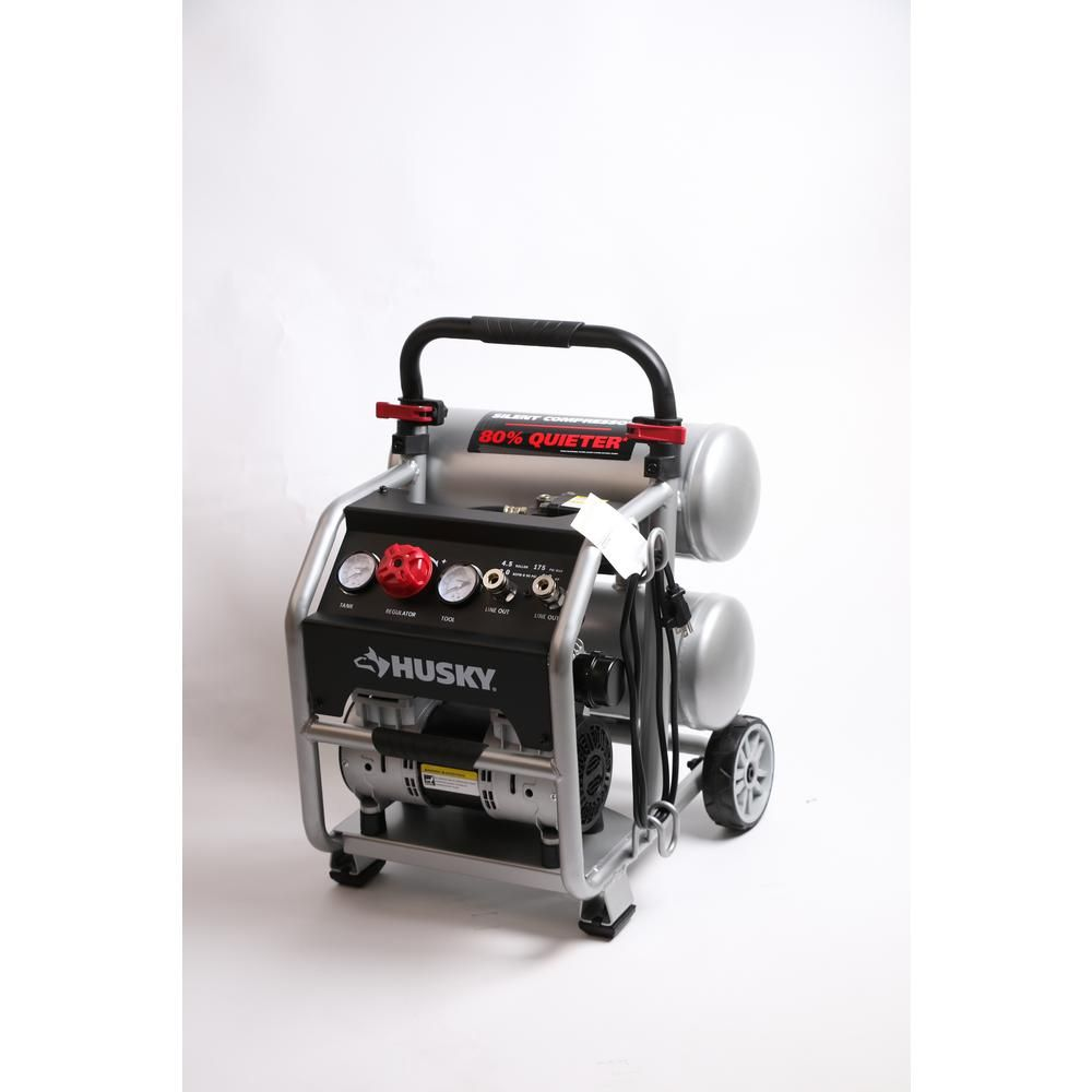 Husky 4 5 Gal Portable Electric Powered Silent Air Compressor 3320445 The Home Depot Silent Air Compressor Electric Air Compressor Air Compressor