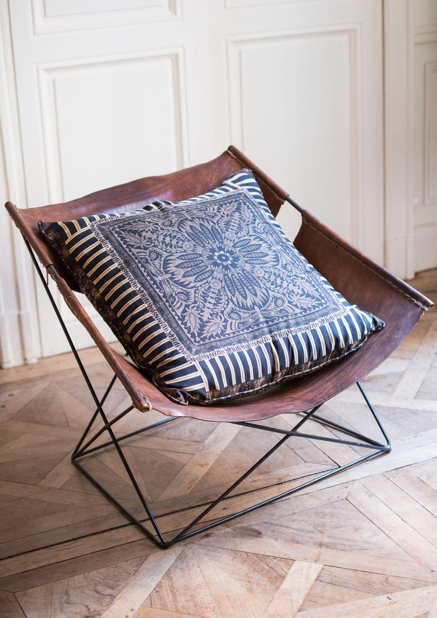 Large Brown Silk Pillow
