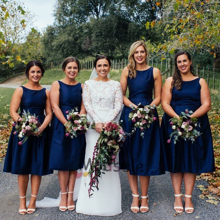 Short Navy Blue Bridesmaid Dresses with