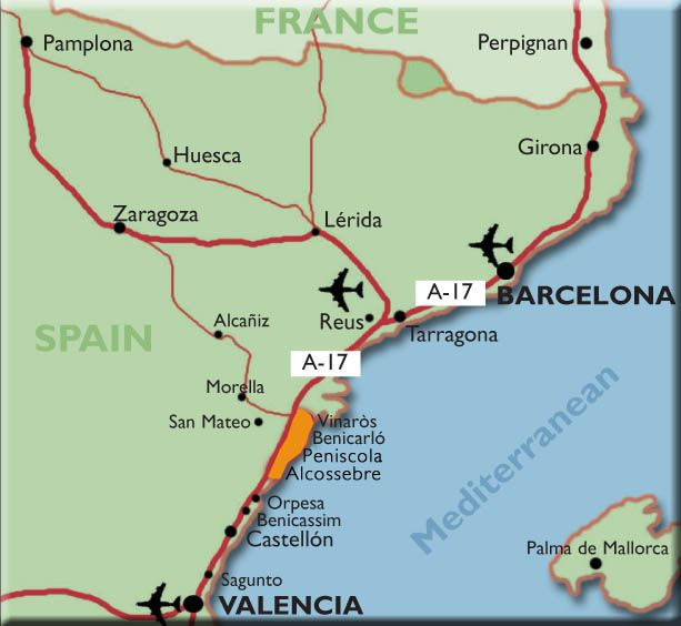 Map Of Spain Coast.Map Showing Peniscola On The Coast Not Far From Where I Lived In
