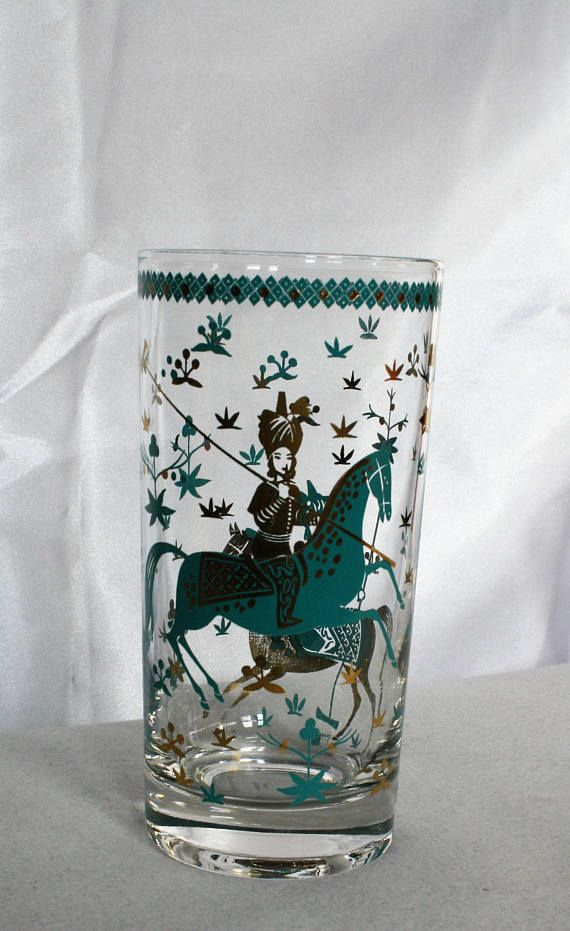 Items similar to Vintage Libbey Glasses Asian Polo Match Turquoise & Gold Retro 50s 60s Set of 7 Cocktail Highball Mid Century Modern on Etsy