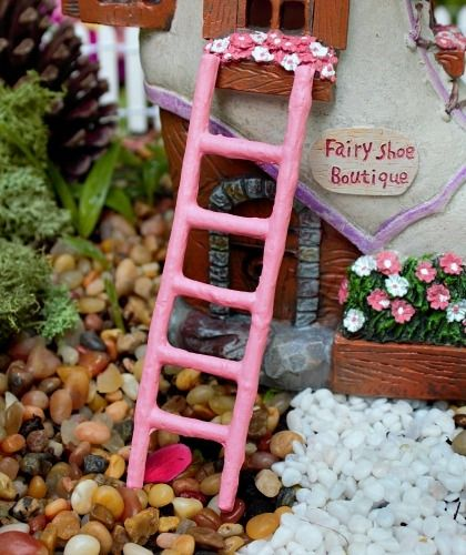 Miniature Pink Fairy Ladder - Fairy Garden Accessories