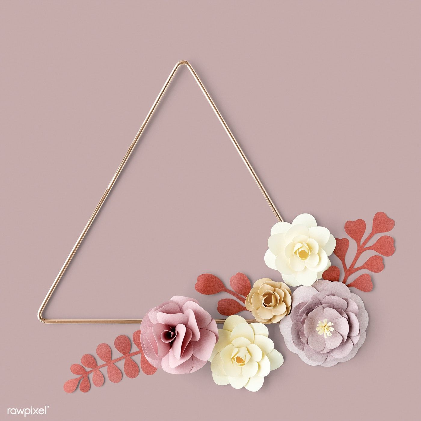Download Premium Psd Of Triangle Gold Frame With Flower Paper