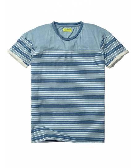 Indigo colour block short-sleeved tee - T-shirts - Official Scotch & Soda Online Fashion & Apparel Shops