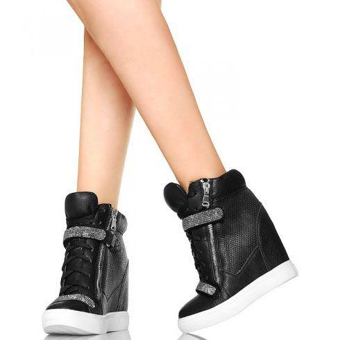 Czarne Seksowne Sneakersy Srebrne Cyrkonie Wedge Sneaker Fashion Shoes