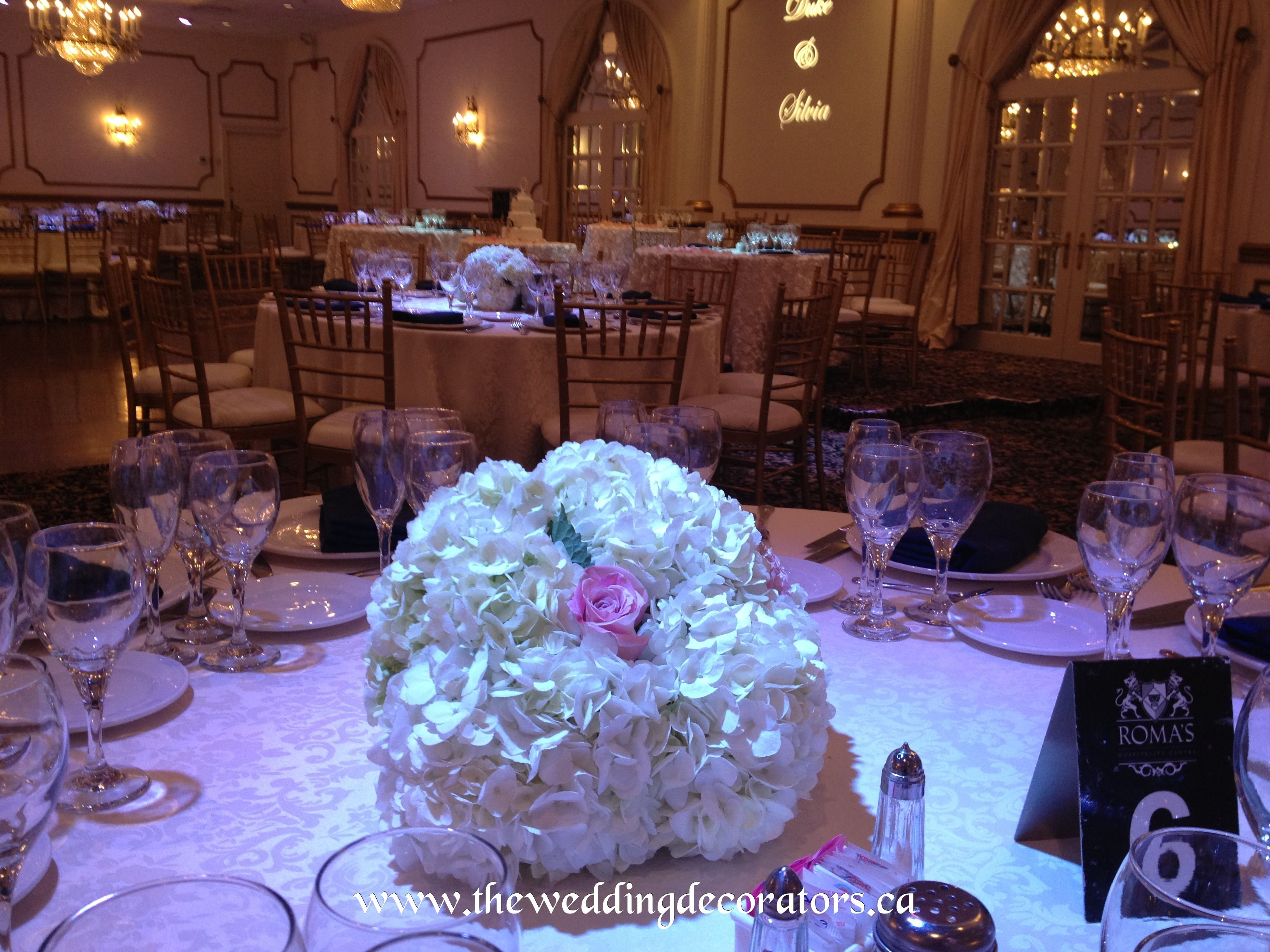 Guest table centrepieces, white hydrangeas & pale pink roses.