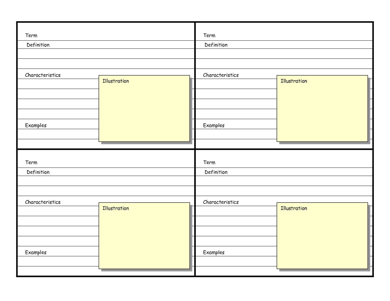Blank Vocabulary Card Template Frayer Models Vocabulary