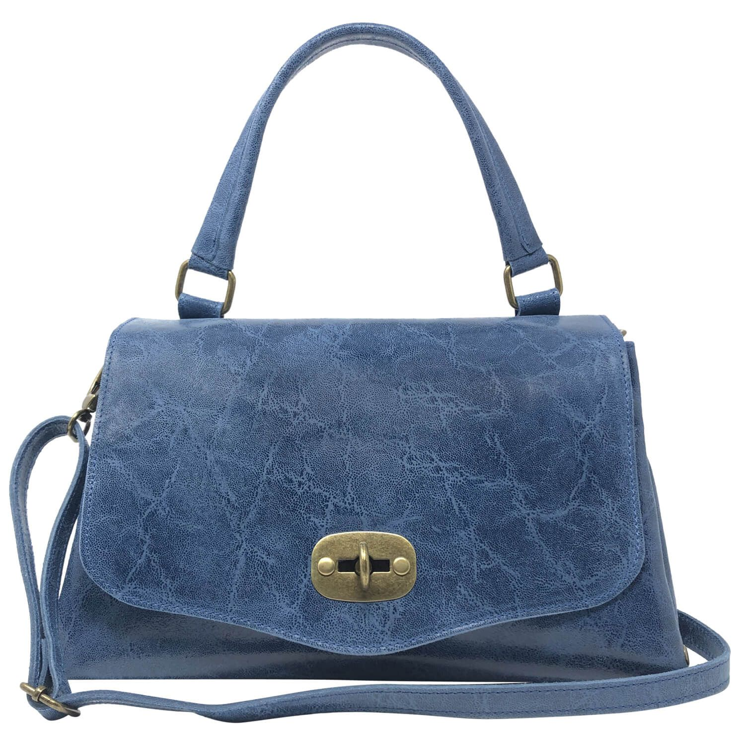 Photo of Parubi, Borsa Donna a Mano con Tracolla, In Vera Pelle, Made in Italy, Modello Zoe, Blu Laminato