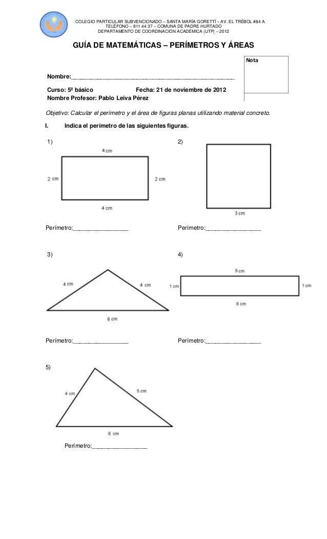 Ejercicios De Areas Y Perimetros Para Imprimir Las Matematicas