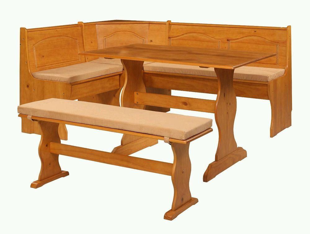 4 PIece Breakfast Bar Nook Bench Seat Dining Corner Booth Beige Cushion Set