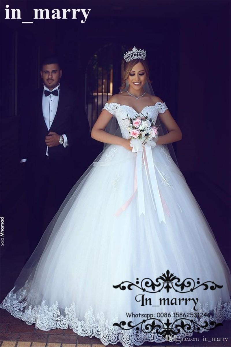 Romantic Off Shoulder Ball Gown Wedding Dresses 2017 Vintage Lace ...