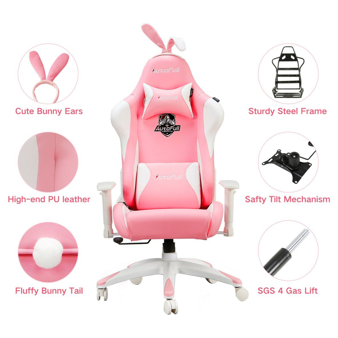 Autofull pink gaming chair with bunny in 2020 video game