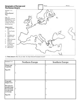 geography of europe and roman empire graphic organizer or worksheet holt text. Black Bedroom Furniture Sets. Home Design Ideas