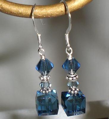 Details about MONTANA Navy Blue Crystal Earrings Sterling Silver Dangle Swarovski Elements