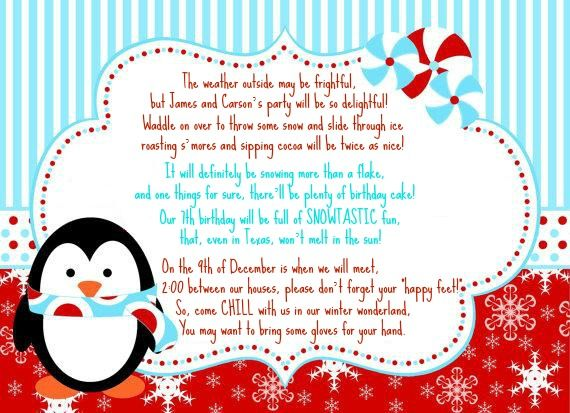 Winter Wonderland Invitation Wording Party Planning Pinterest