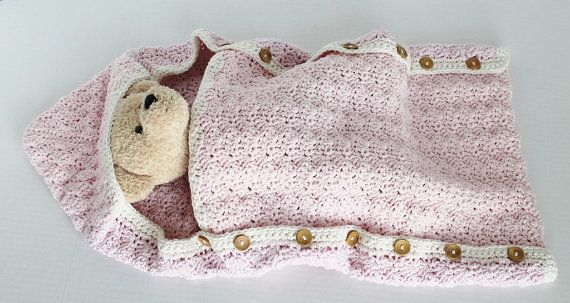 Hooded Baby Sack Button Sides  Pink by SnugableTouches on Etsy, $28.00