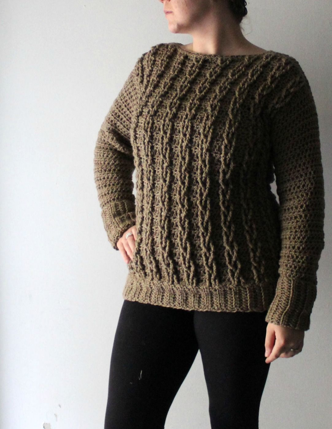 3ee1c8b5bb4841 Have you been dying to make your own sweater  Need a detailed pattern   Check out the crochet cable sweater design by YarnHookNeedles!