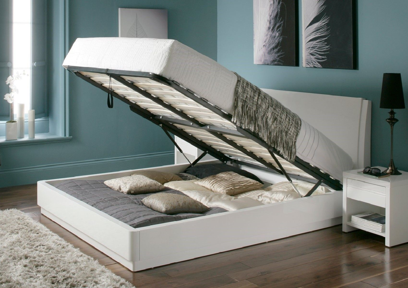Aden white high gloss Ottoman storage bed with inclined