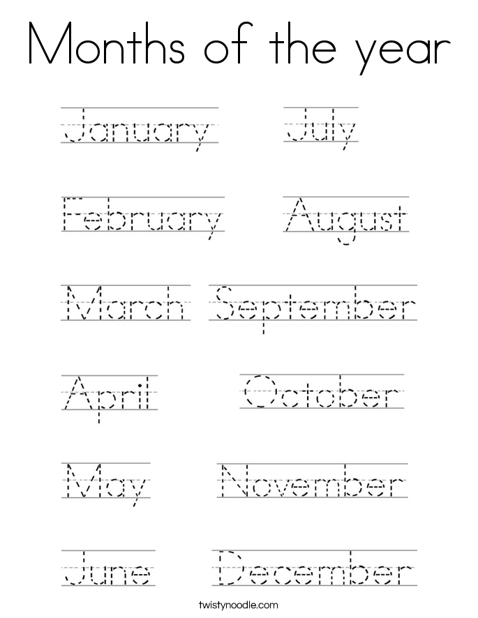 Months of the year Coloring Page - Twisty Noodle | Months ...