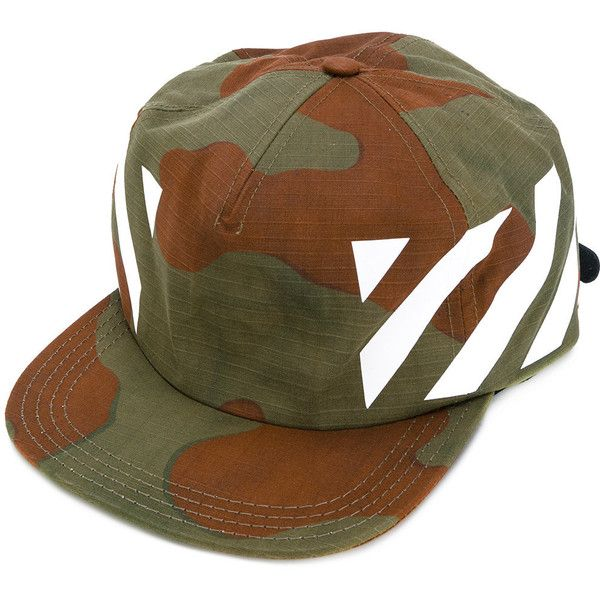 Off-White camouflage print cap ($160) ❤ liked on Polyvore featuring men's fashion, men's accessories, men's hats, beige, urban outfitters mens hats, mens caps and hats, mens wide brim hats and mens camo hats