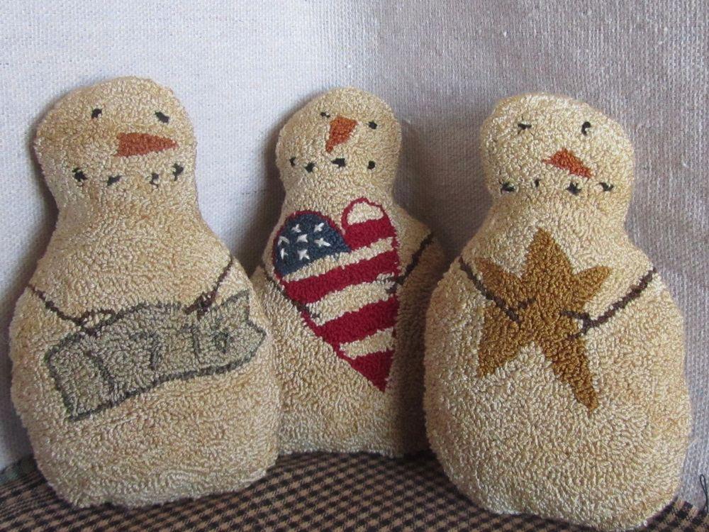 Primitive Needle Punch Patriotic Snowmen Trio Bowl Fillers/Shelfies ~Americana #NaivePrimitive