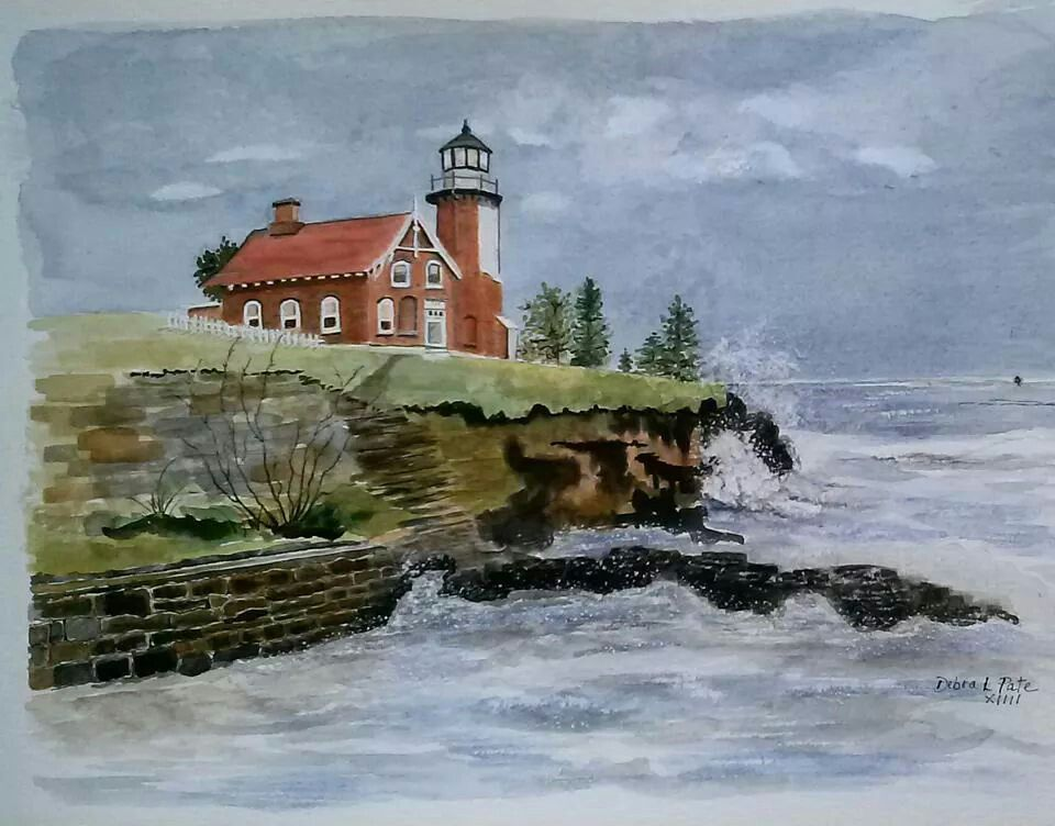 Eagle Harbor Light By Debra L Pate From A Photo By Gary Ennis Of Traverse City Mi 9x12 Inches Available Traverse City Mi Harbor Lights Nature Inspiration