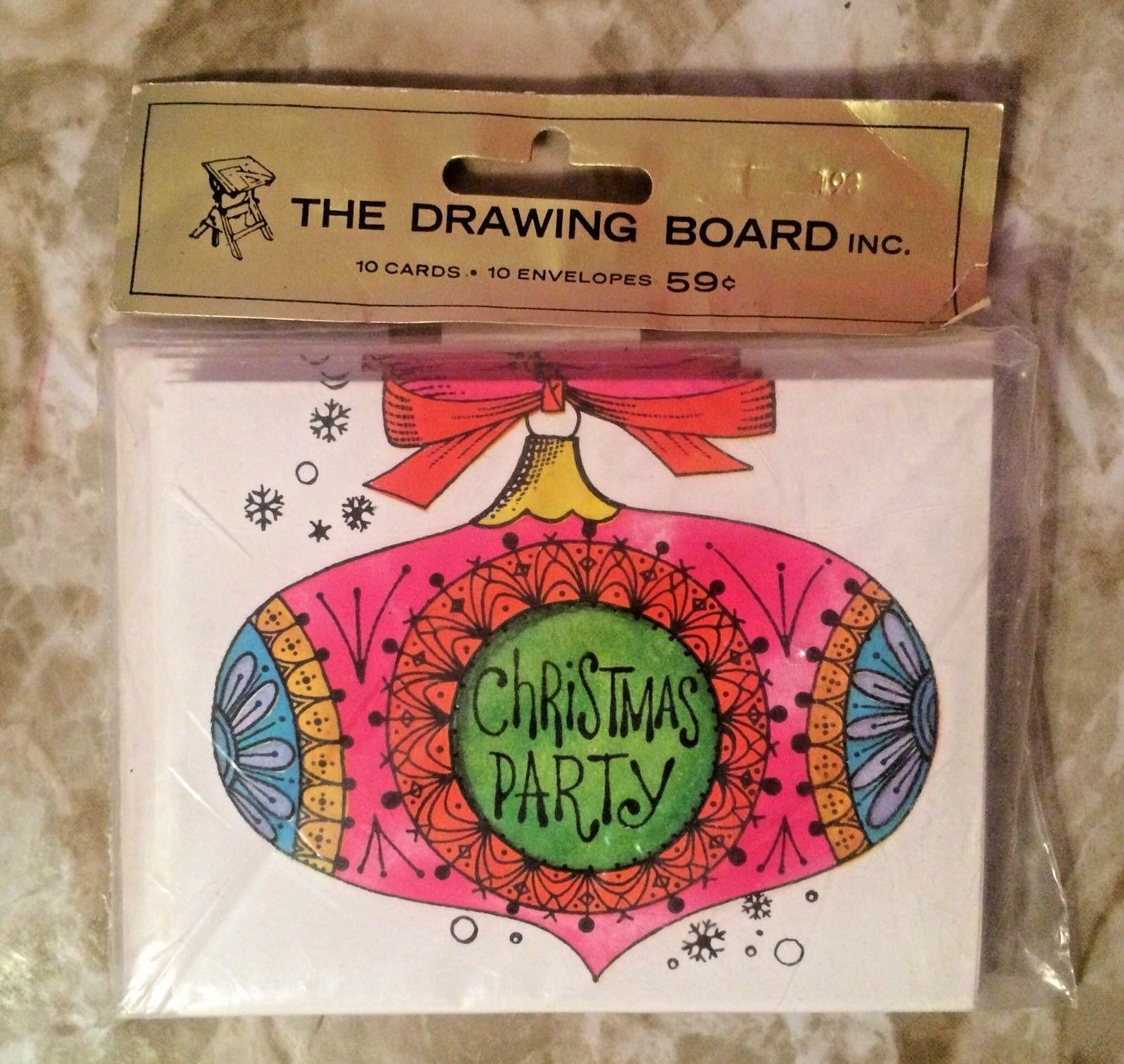 Vintage Christmas Party Invitations Drawing Board Mod Mid Century ...