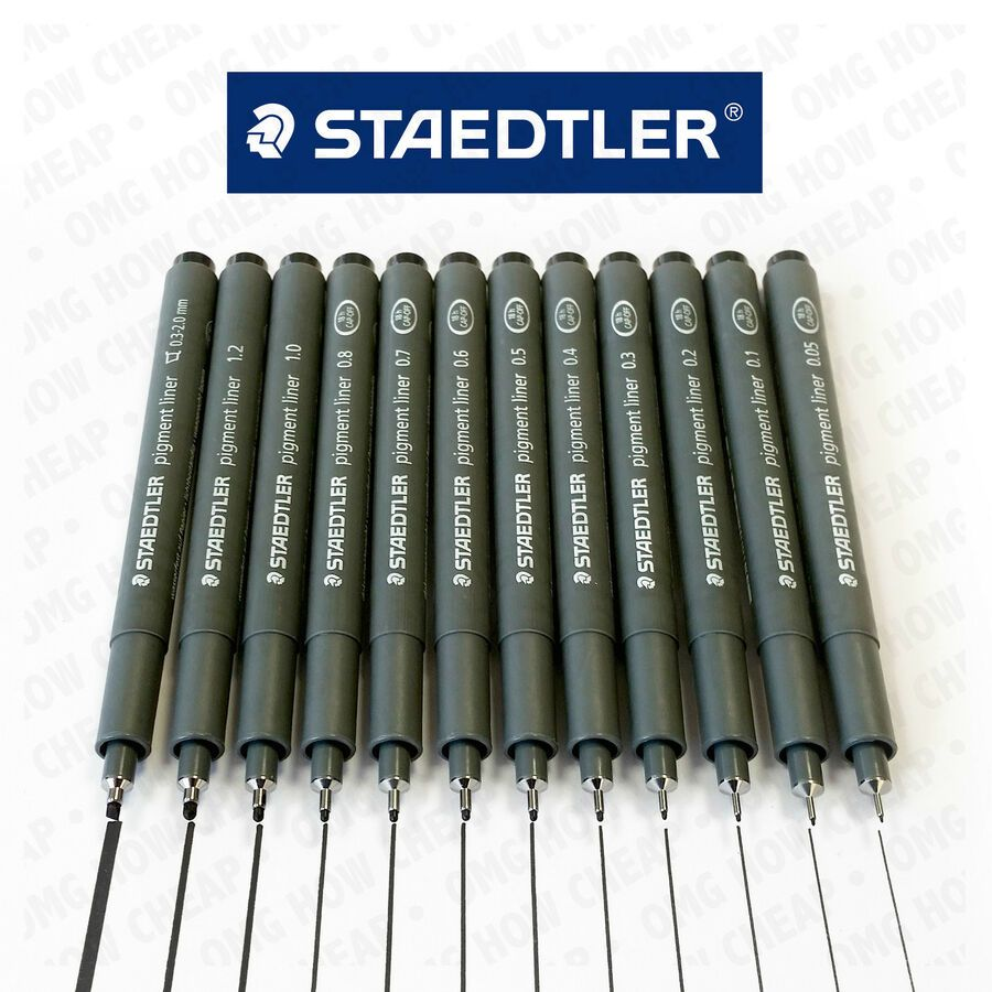 Staedtler 0.05 mm Pigment Liner Fineliner Sketching Drawing Drafting Pens Pack of 10