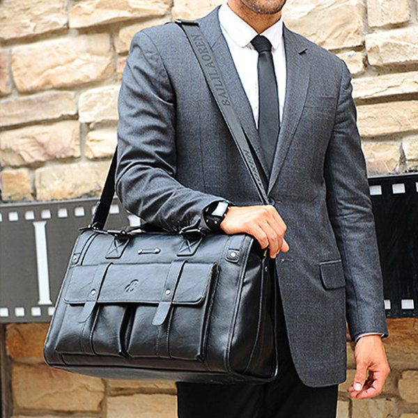 Men Business Vintage Laptop Bag Briefcase Big Capacity Horizontal Handbag Trave - US$80.00