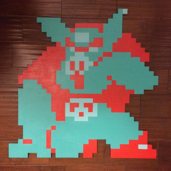 The Legend of Zelda 8Bit 3-D Wallhanging Handmade woodcut