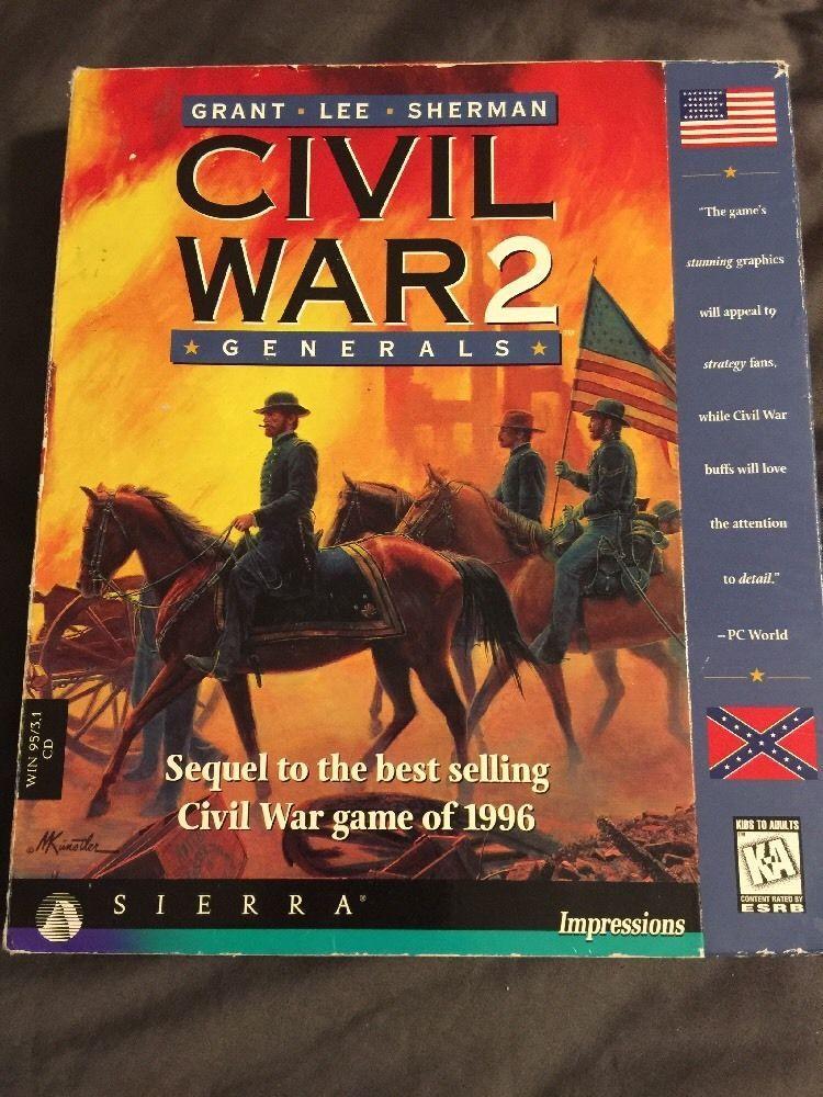 Civil War 2 Generals Sierra Big Box PC Game Original