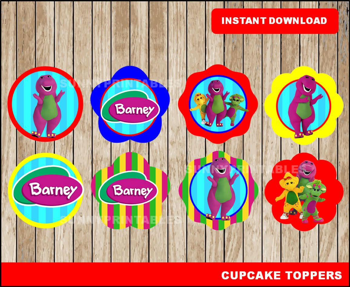 Barney Cupcakes Toppers Printable Barney Toppers Barney