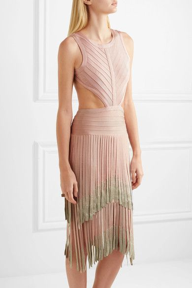 Cheap Price Wholesale Price Brand New Unisex For Sale Hervé Léger Woman Cutout Fringed Metallic Bandage Dress Blush Size L Hérve Léger czPkVS4nL