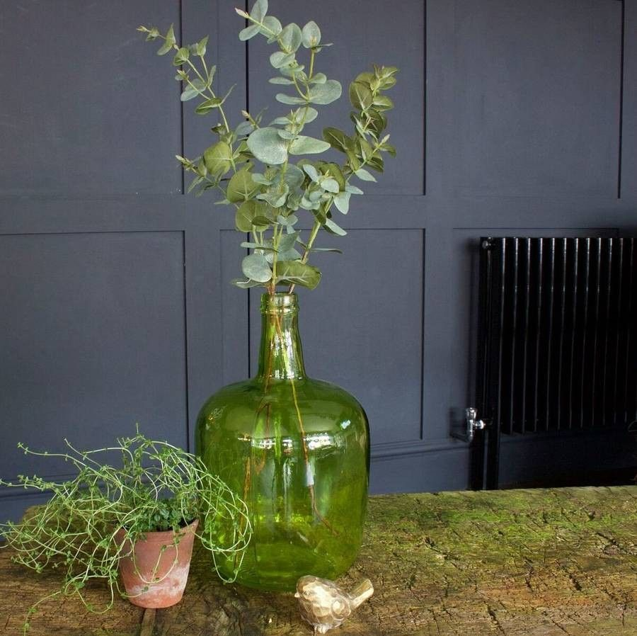 Gorgeous carboy style green bottle vase. Available at ellajames.co on